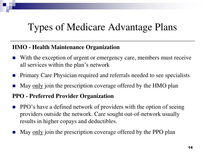 Types of Medicare Advantage Plans