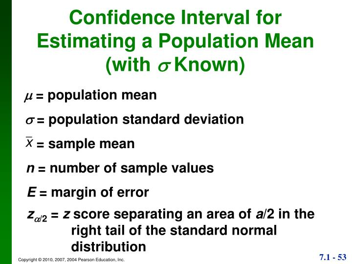 Confidence Interval for Estimating a Population Mean (with