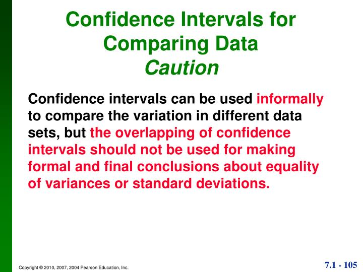 Confidence Intervals for Comparing Data