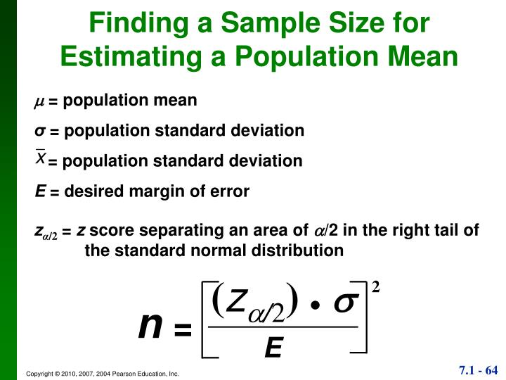 Finding a Sample Size for Estimating a Population Mean
