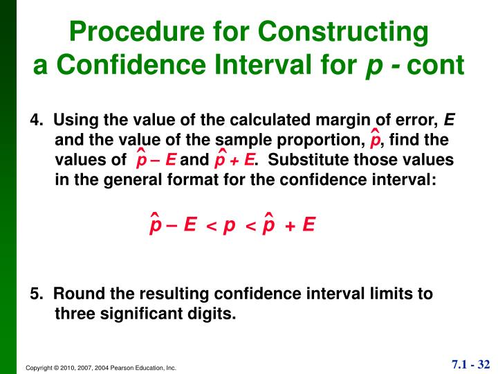 4.  Using the value of the calculated margin of error,