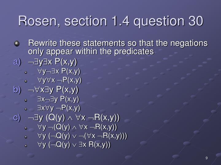 Rosen, section 1.4 question 30