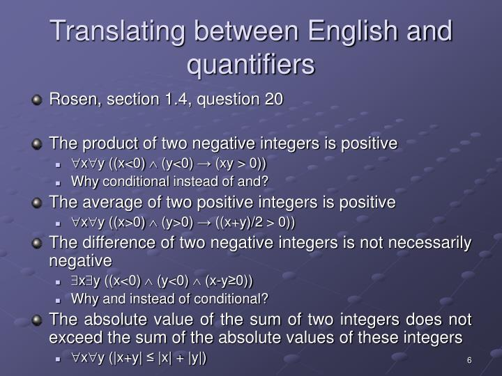 Translating between English and quantifiers