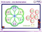 circle sums one decimal place
