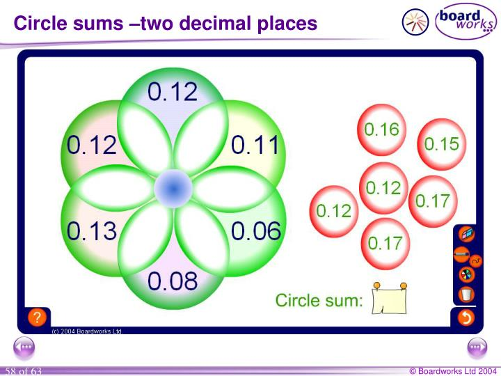 Circle sums –two decimal places