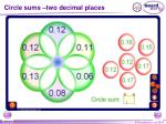 circle sums two decimal places