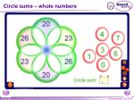 circle sums whole numbers
