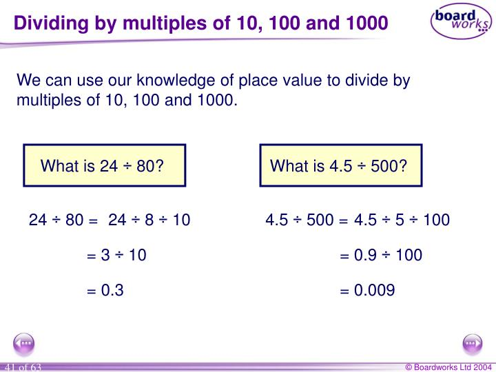 Dividing by multiples of 10, 100 and 1000