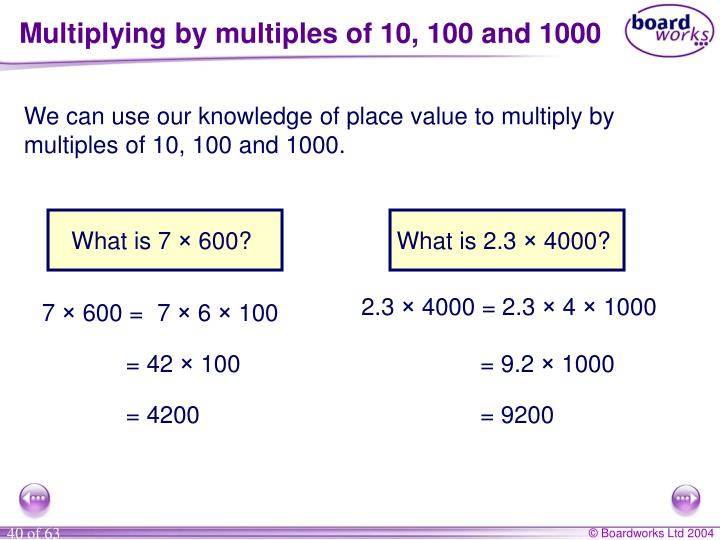 Multiplying by multiples of 10, 100 and 1000