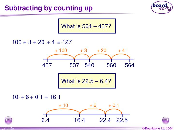 Subtracting by counting up
