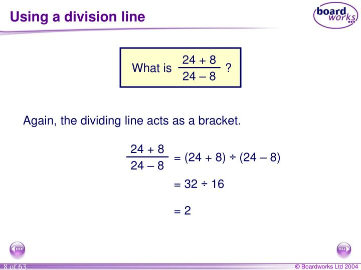 Using a division line