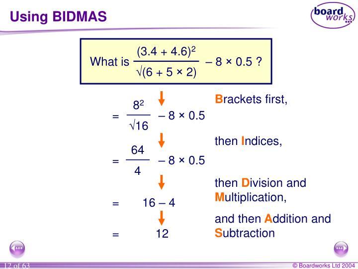 Using BIDMAS