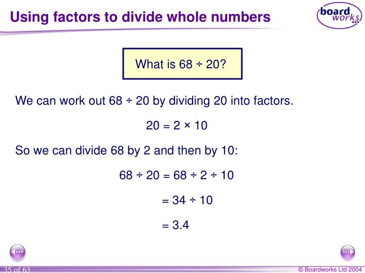 Using factors to divide whole numbers