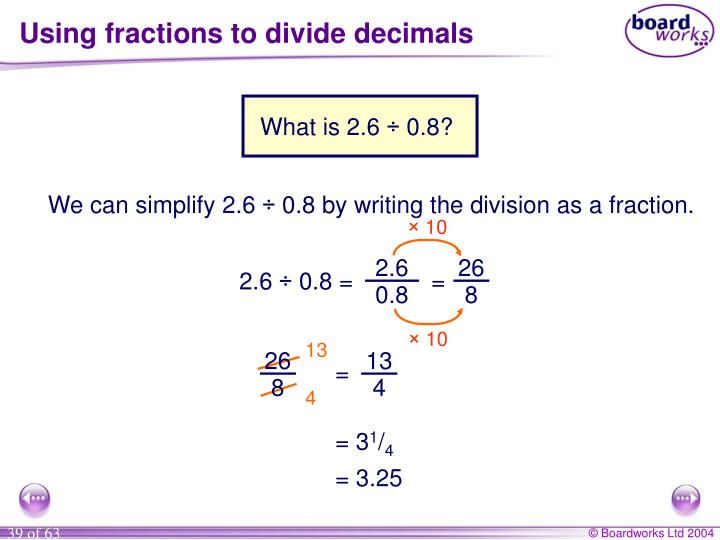 Using fractions to divide decimals