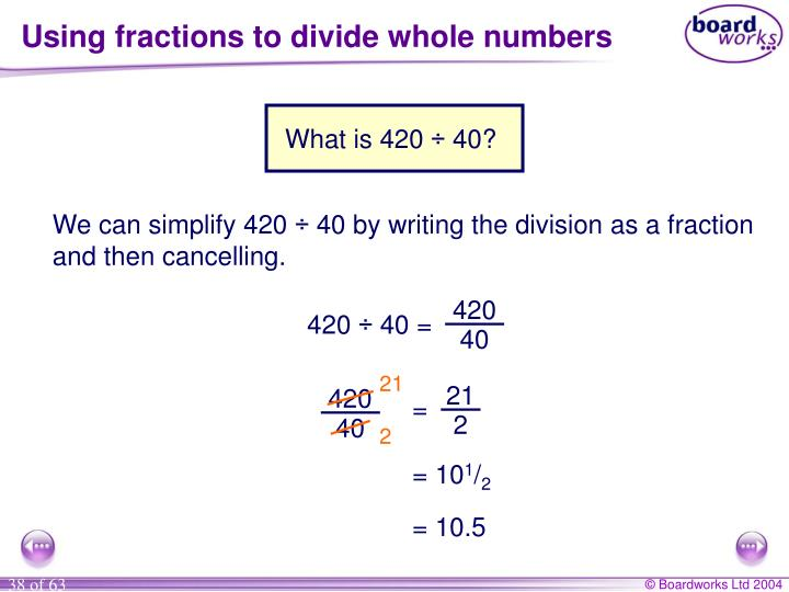 Using fractions to divide whole numbers