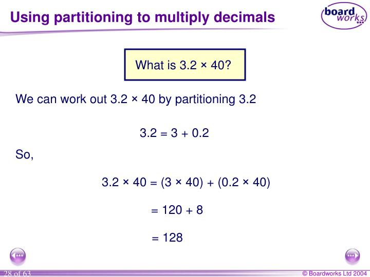 Using partitioning to multiply decimals