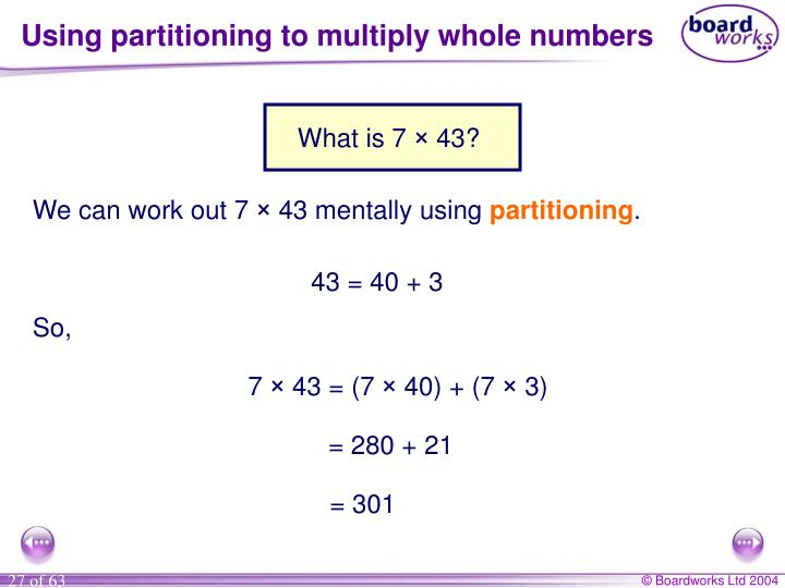 Using partitioning to multiply whole numbers