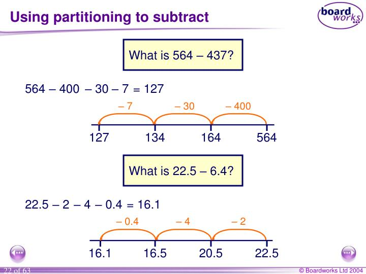 Using partitioning to subtract