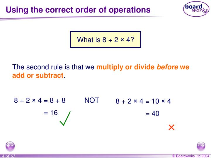 Using the correct order of operations