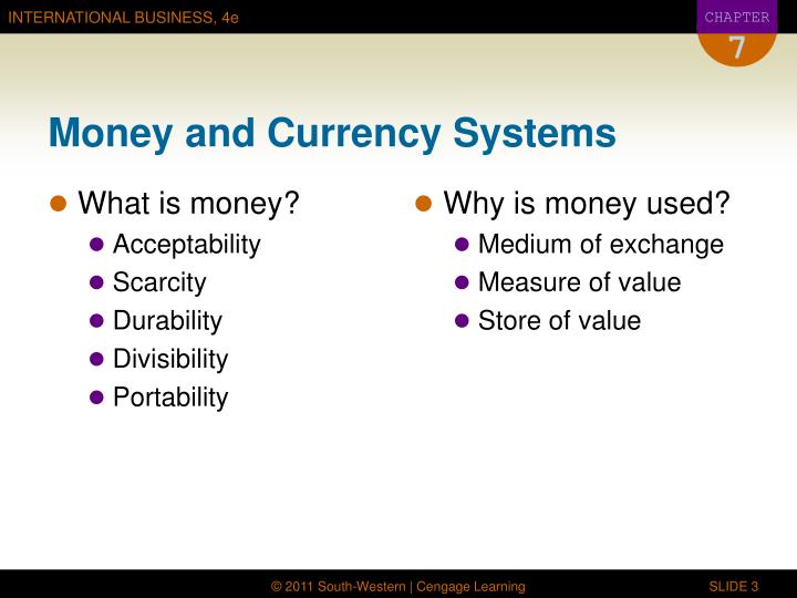 Money and currency systems