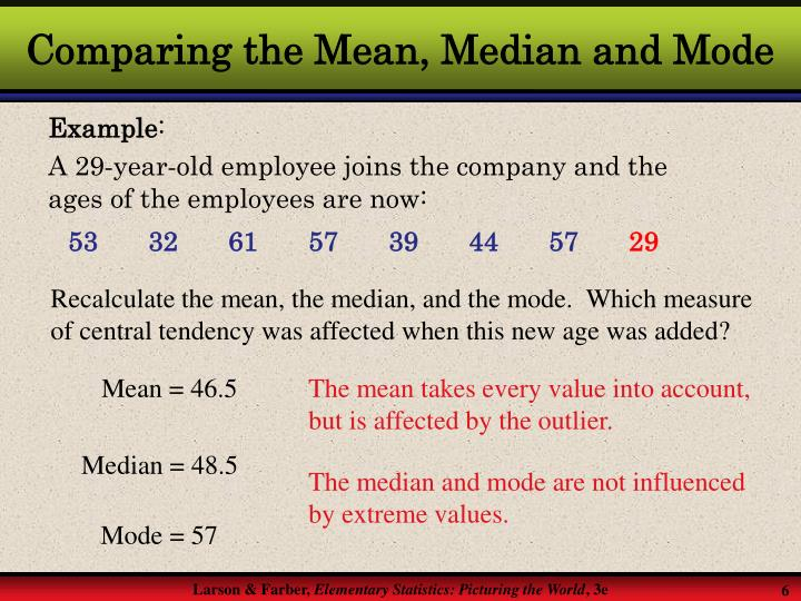 Comparing the Mean, Median and Mode