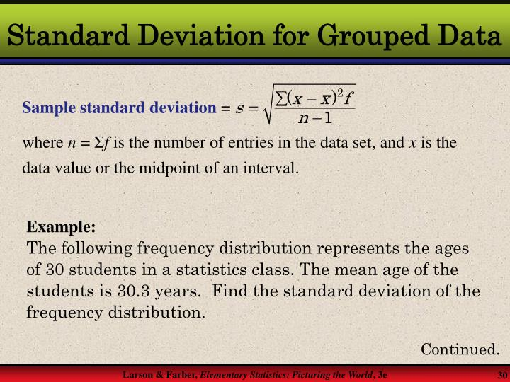 Standard Deviation for Grouped Data
