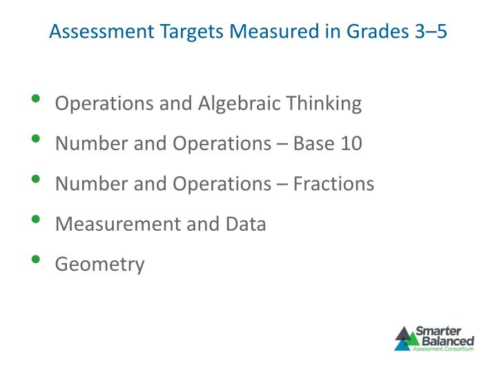Assessment Targets Measured in Grades 3–5