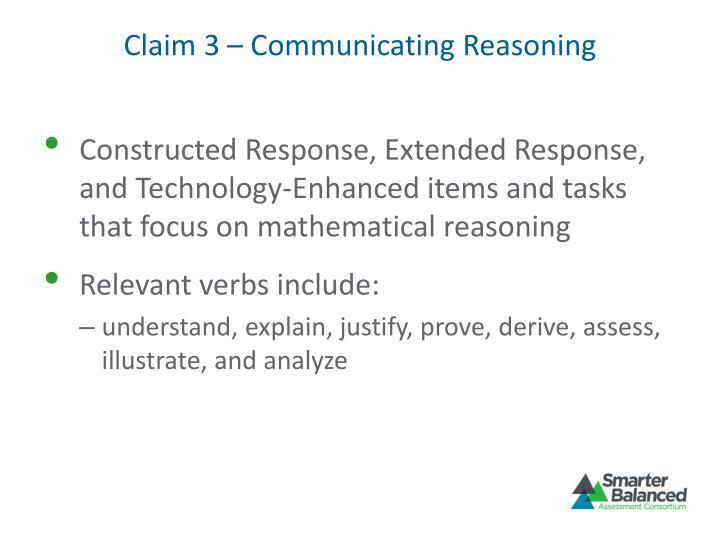 Claim 3 – Communicating Reasoning