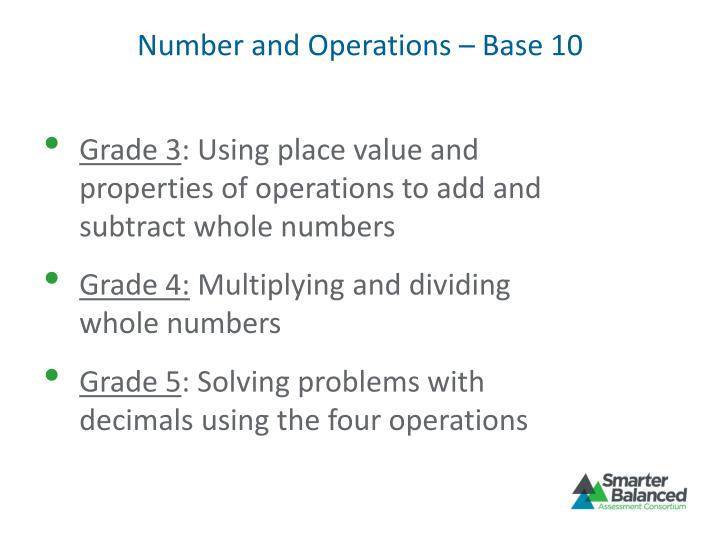 Number and Operations – Base 10