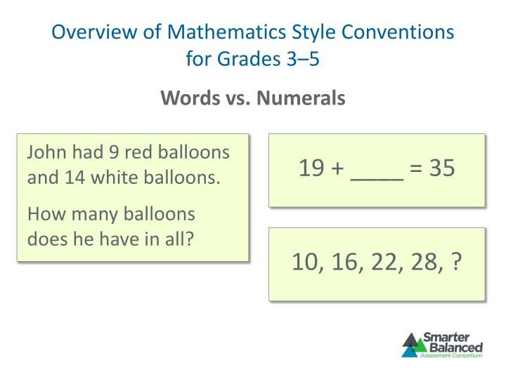 Overview of Mathematics Style Conventions