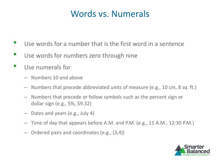 Words vs. Numerals