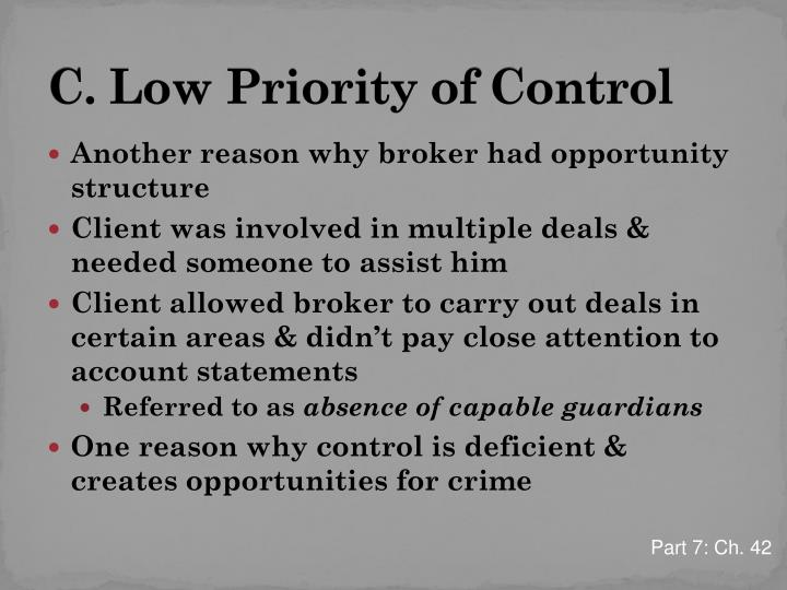 C. Low Priority of Control