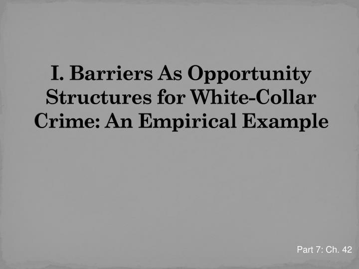 I. Barriers As Opportunity Structures for White-Collar Crime: An Empirical Example