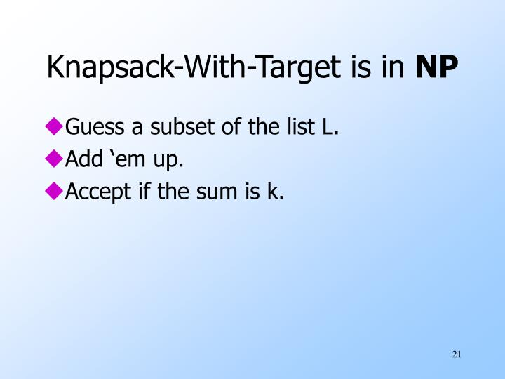 Knapsack-With-Target is in