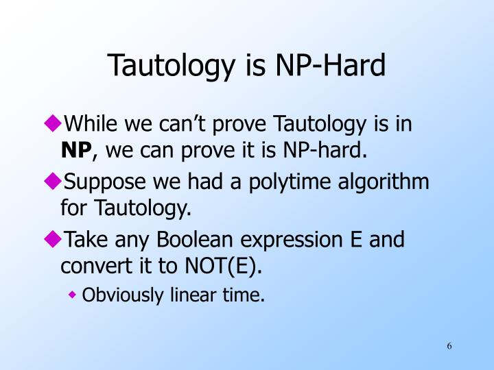 Tautology is NP-Hard