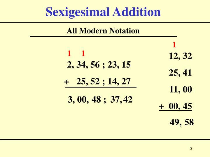 Sexigesimal Addition