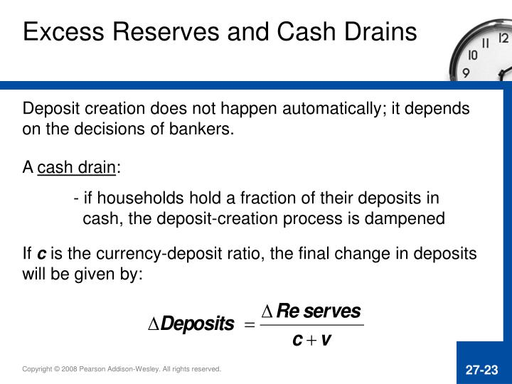 Excess Reserves and Cash Drains