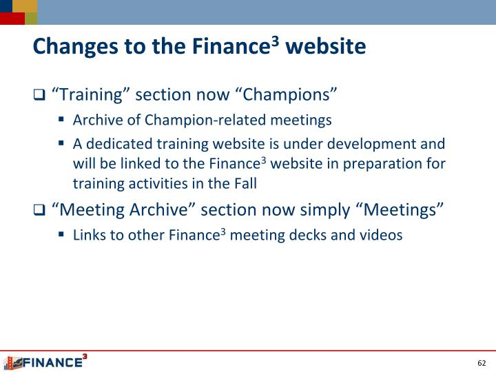 Changes to the Finance