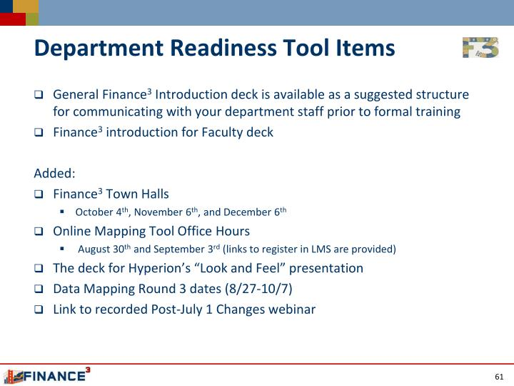 Department Readiness Tool Items