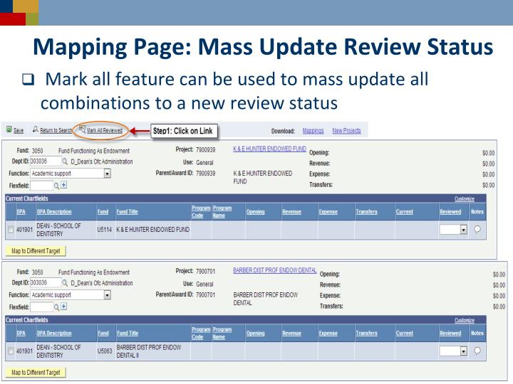 Mapping Page: Mass Update Review Status