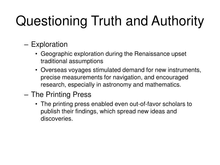 Questioning truth and authority1