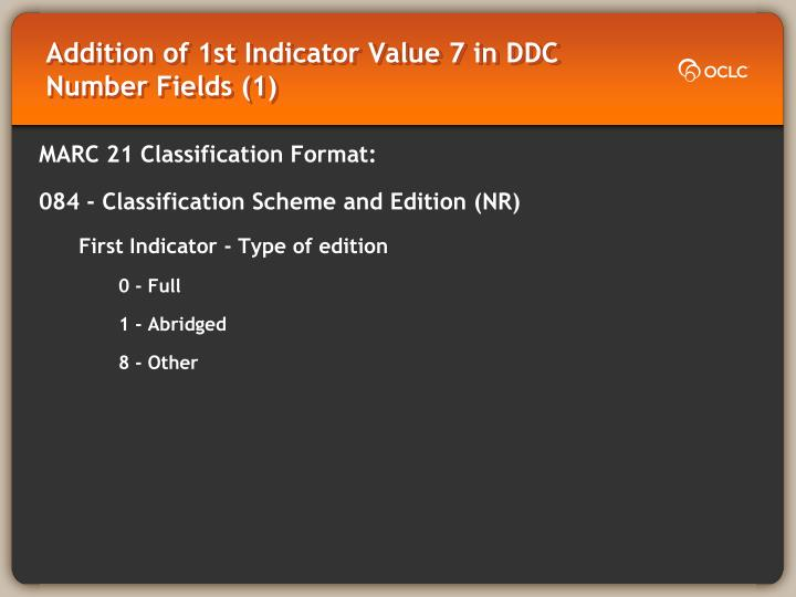 Addition of 1st indicator value 7 in ddc number fields 1