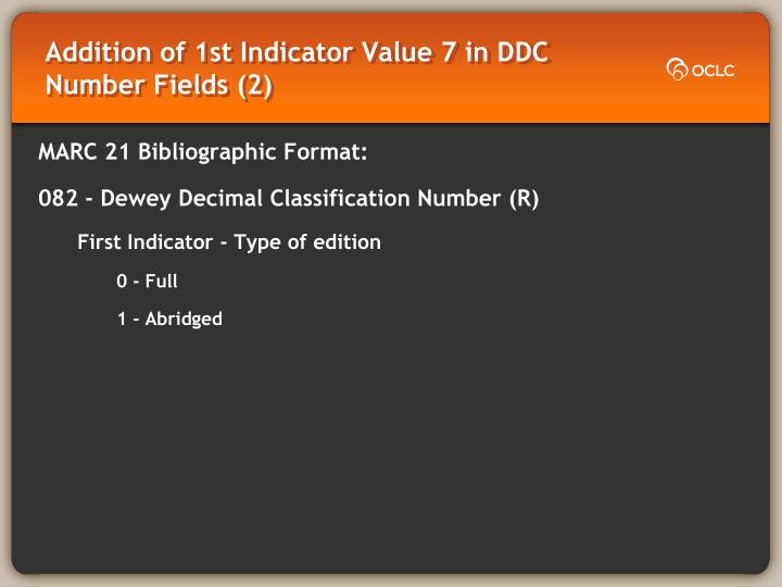Addition of 1st Indicator Value 7 in DDC Number Fields (2)