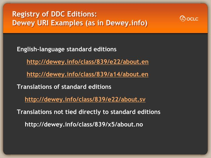 Registry of DDC Editions:                        Dewey URI Examples (as in Dewey.info)