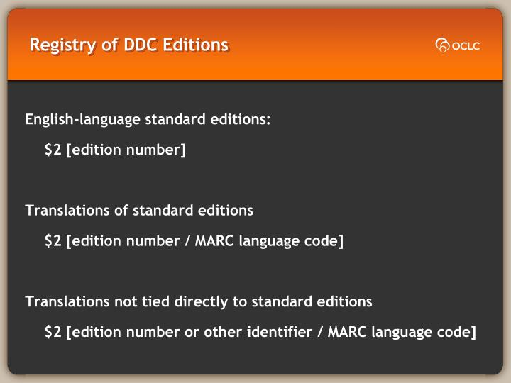 Registry of DDC Editions