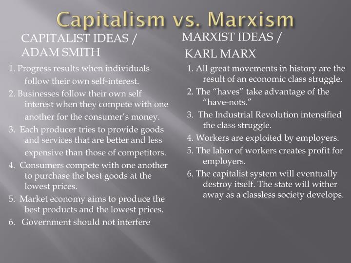 marxism vs capitalism In order to prepare you for the following lesson on the challenge to capitalism and russian revolutionary movements capitalism, communism, marxism and revolution.