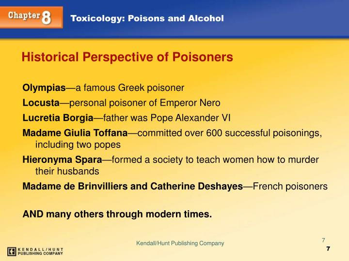 Historical Perspective of Poisoners