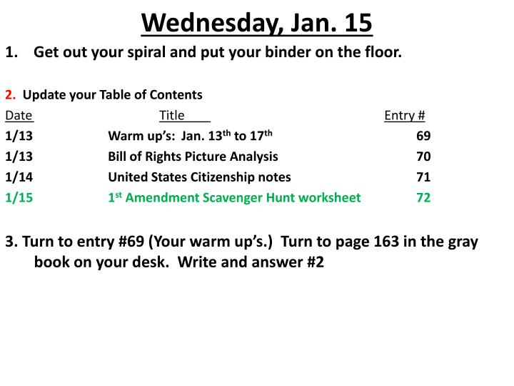 Wednesday jan 15
