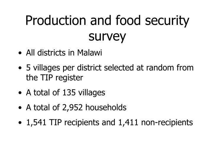 Production and food security survey
