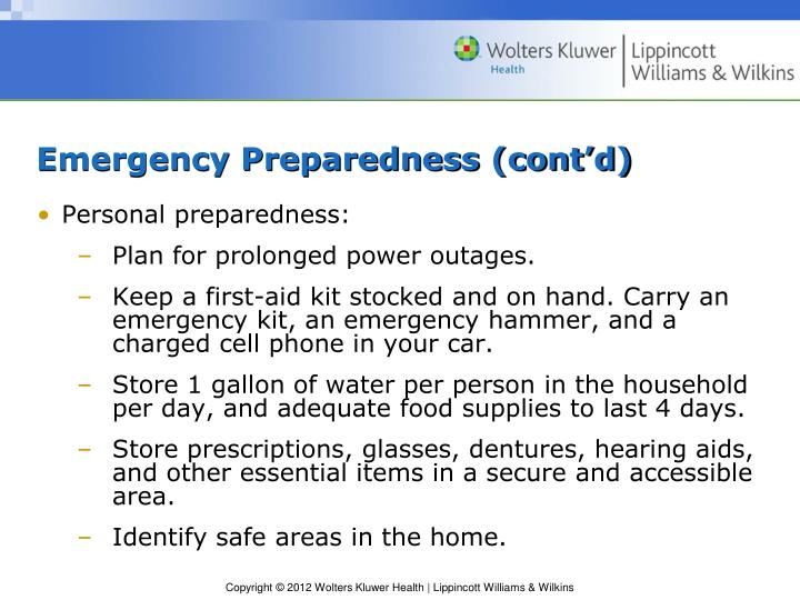 Emergency Preparedness (cont'd)